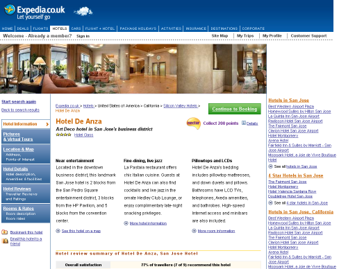 An image of the hotel de anza page at expedia.co.uk