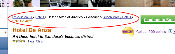 Screenshot of breadcrumbs on the Hotel De Anza Page
